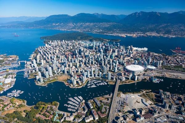 Vue aérienne de Vancouver au Canada
