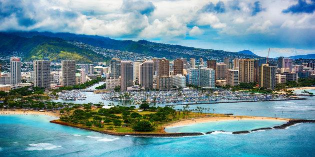 Vue aérienne d'Honolulu à Hawaï