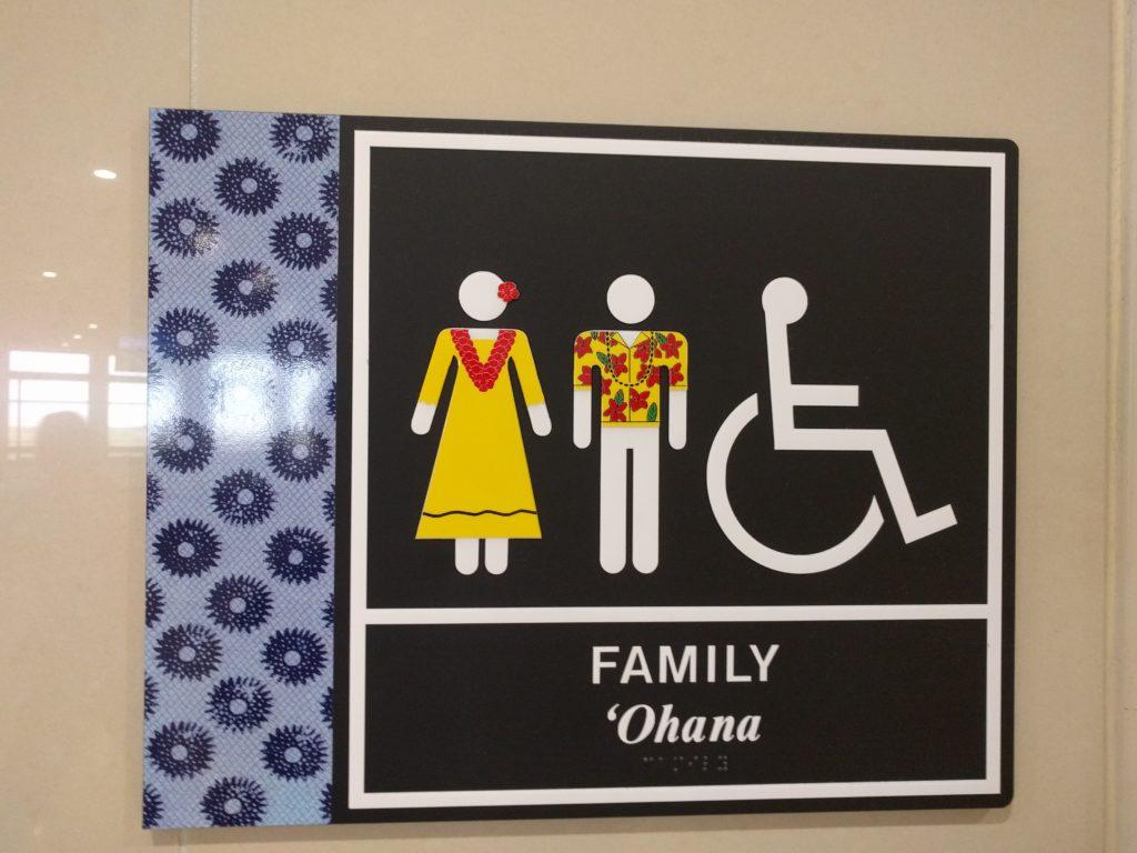 Même les panneaux des toilettes sont hawaïens!