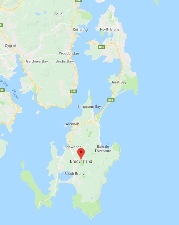 Carte de Bruny Island