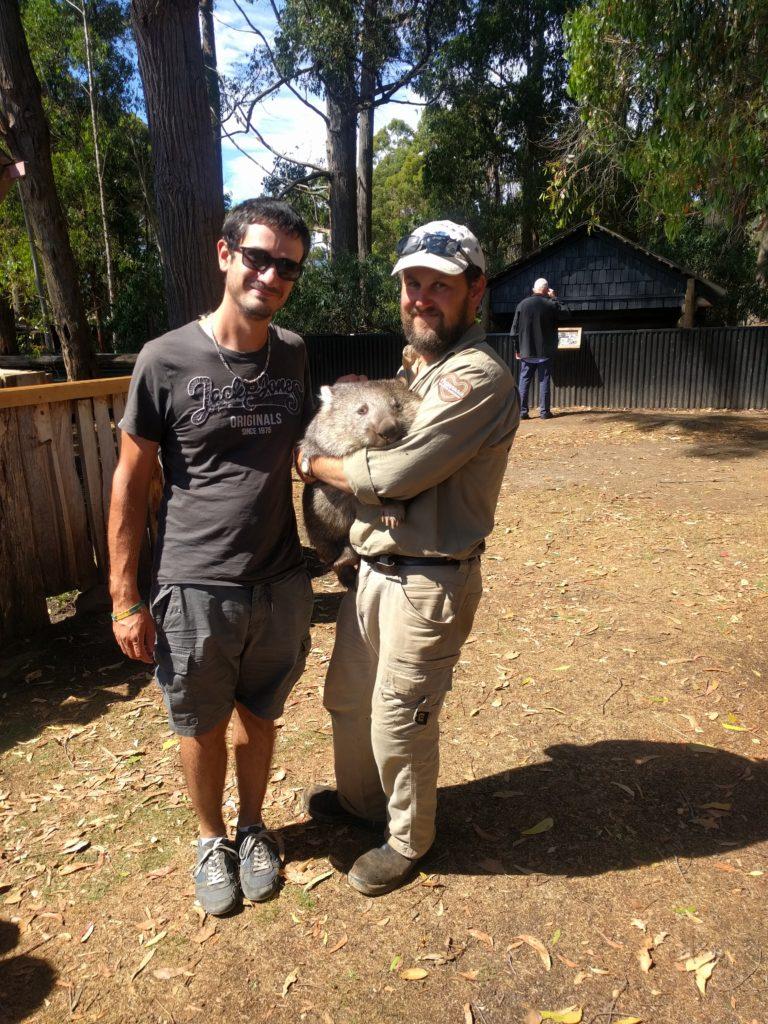 Moi avec le wombat