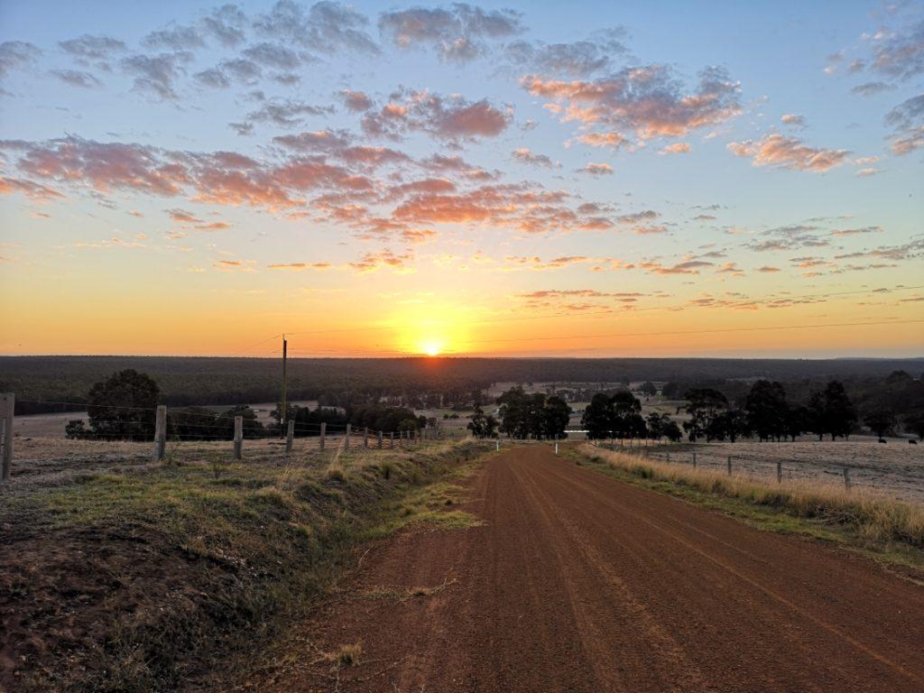 Coucher de soleil depuis notre colline