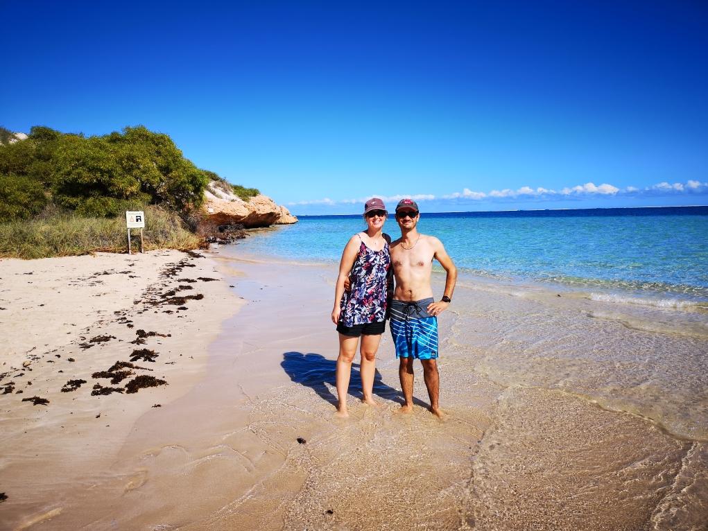 Nous sur la plage de Coral Bay