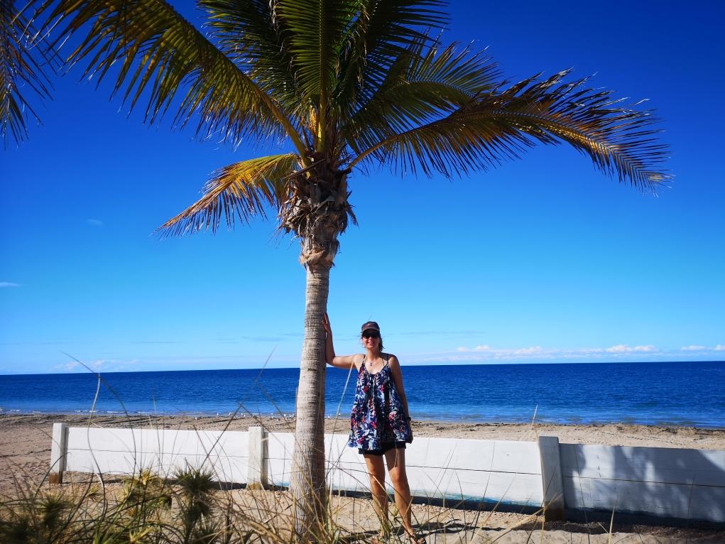 Laura sous son palmier à Exmouth
