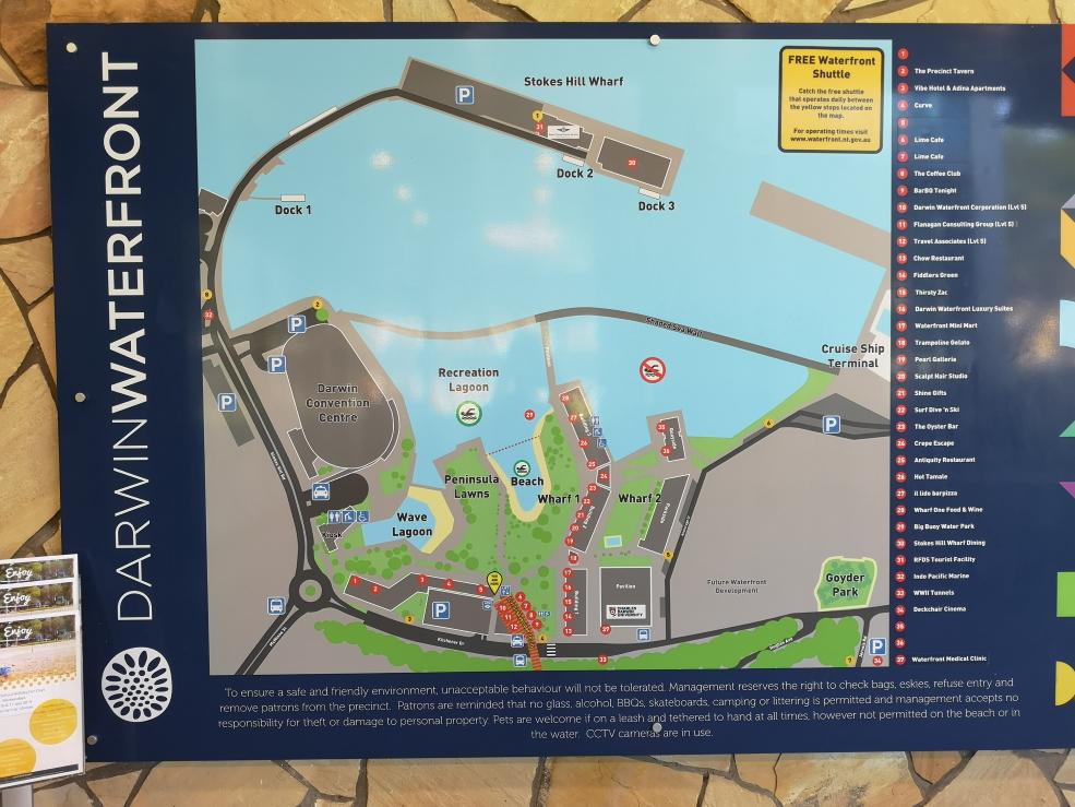 Le plan du Darwin Waterfront