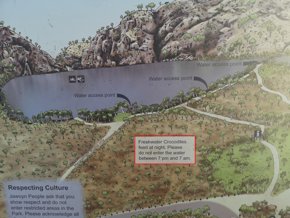 Plan du lac à Edith Falls: Les crocos mangent entre 19h et 7h