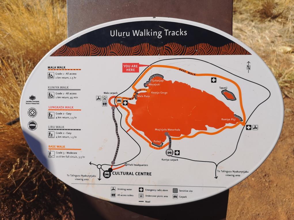 Plan de la marche autour de l'Uluru