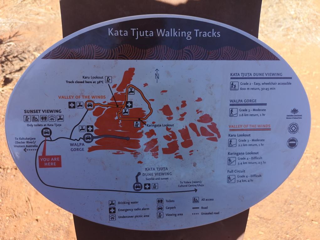 Plan des marches du Kata Tjuta