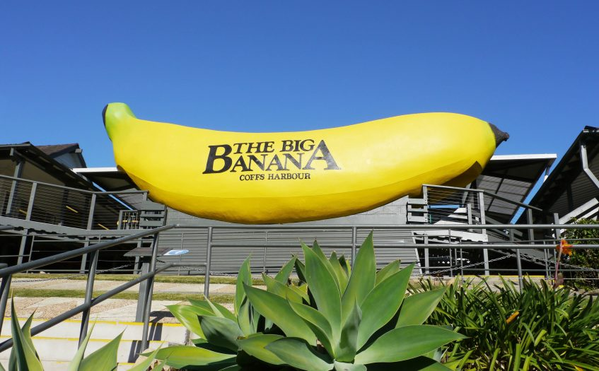 Big Banana de Coffs Harbour - Elle se situe vers un parc d'attractions aquatiques. Photo de l'Office du Tourisme de Coffs Harbour