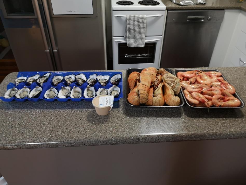 Des fruits de mer au dîner! Au programme: huîtres, bugs de Moreton Bay et Crevettes