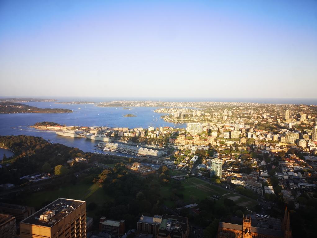 Vue depuis la tour de Sydney vers le port de Sydney