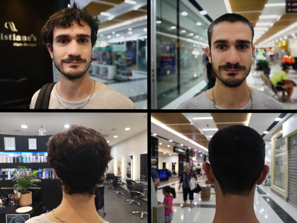 Traditionnel Avant/Après coiffeur avant l'Asie : il fait moins chaud!