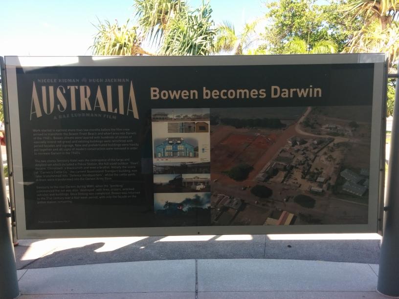 Panneau expliquant le tournage du film Australia à Bowen