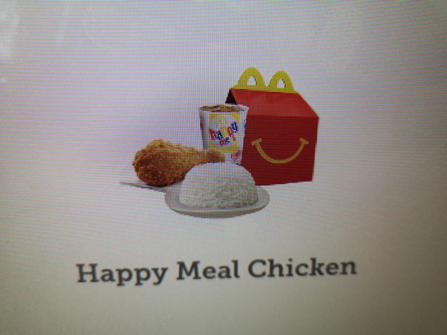 Ici le Happy meal s'adapte: poulet et riz au menu!
