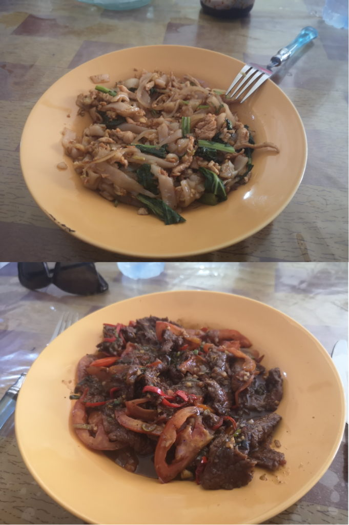 Notre repas du jour: Nouilles sautées au poulet pour moi, Boeuf épicé pour Laura