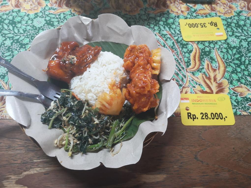 Deuxième soir à notre Warung Indonesia, assiette composée