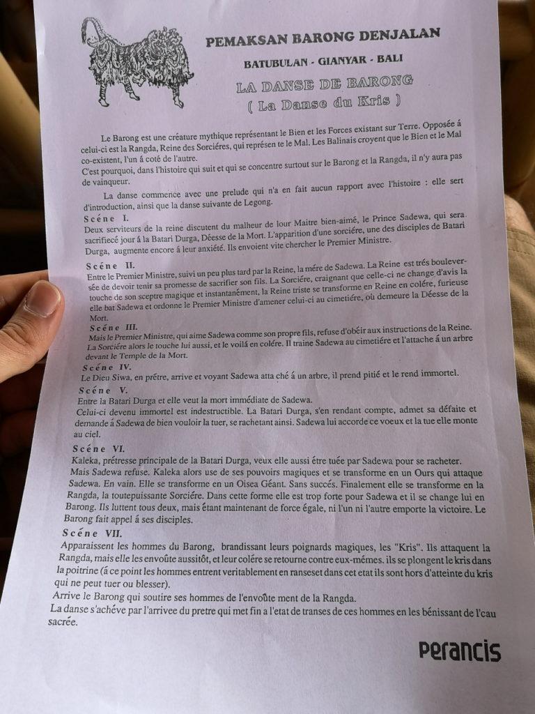 Déroulement du spectacle en Français