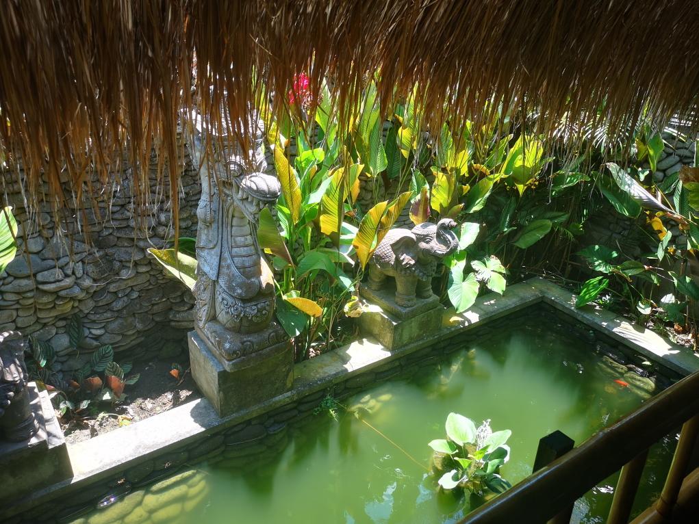 Le bale est au-dessus d'un bassin d'eau avec fontaine, entouré de murs