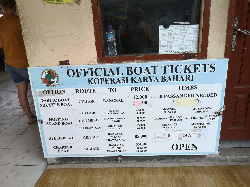 Tarifs des bateaux au départ de Gili Air - 1€ ~= 15 500 roupies