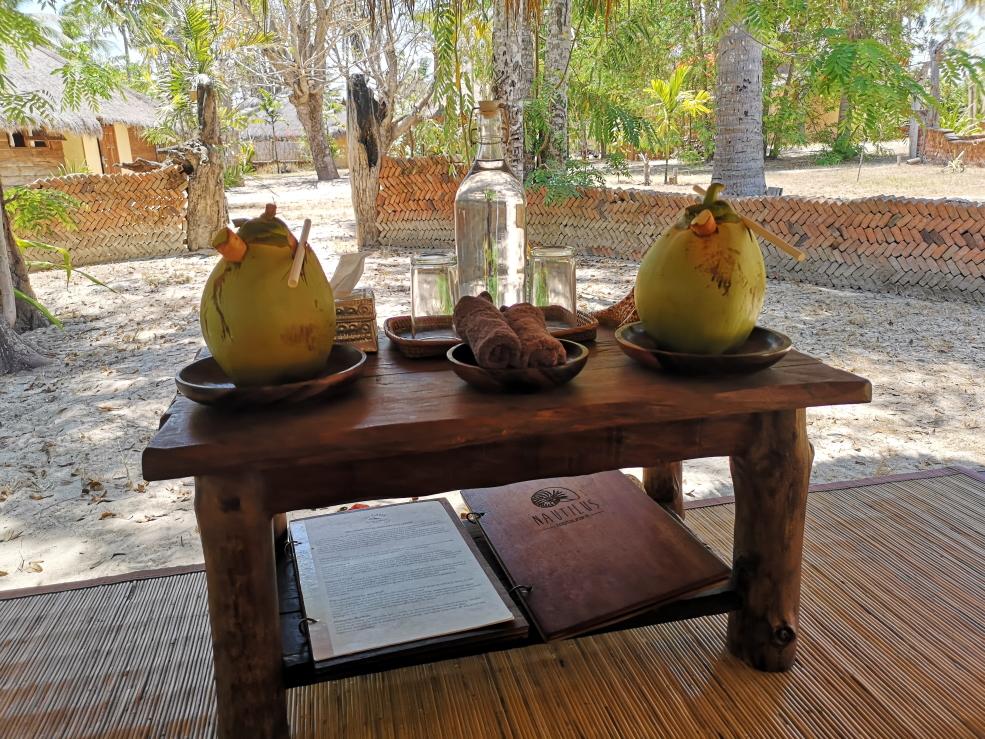 Cadeau de bienvenue dans notre bale: noix de coco