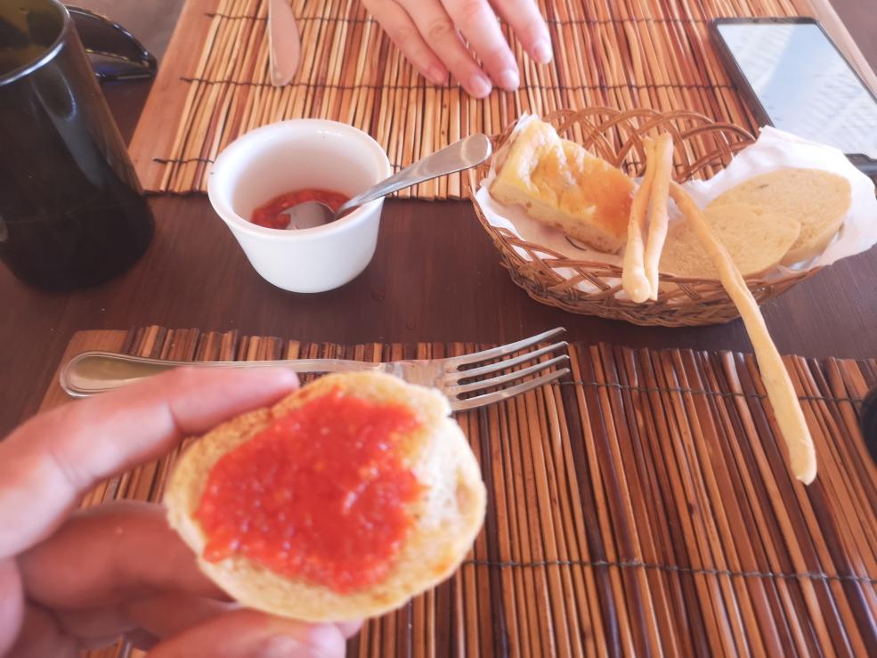 Petit apéritif à l'italienne que nous avions gratuitement avant chaque repas