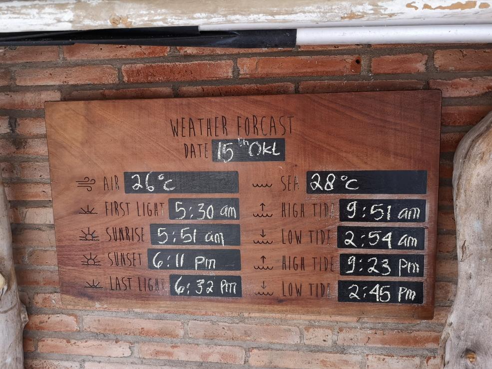 Informations météorologiques du jour: 25 octobre 2019, eau à 28°, air à 26°