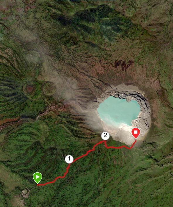 Aperçu GPS de notre grimpette jusqu'au sommet du volcan - Merci à Bruno