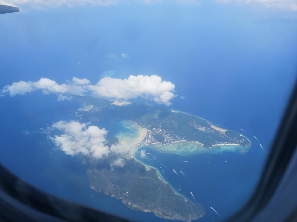 Îles Phi Phi vues du ciel en atterrissant à Phuket