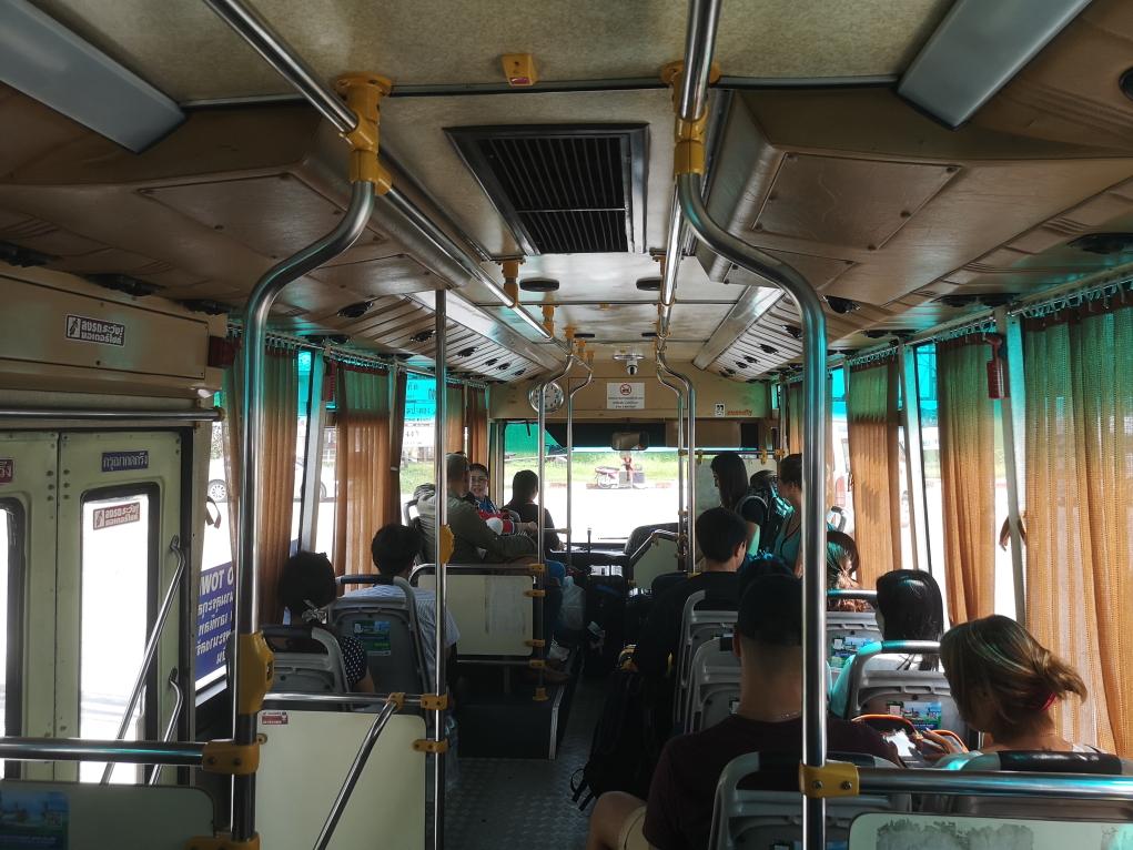 La navette publique climatisée qui nous emmène dans la vieille ville de Phuket