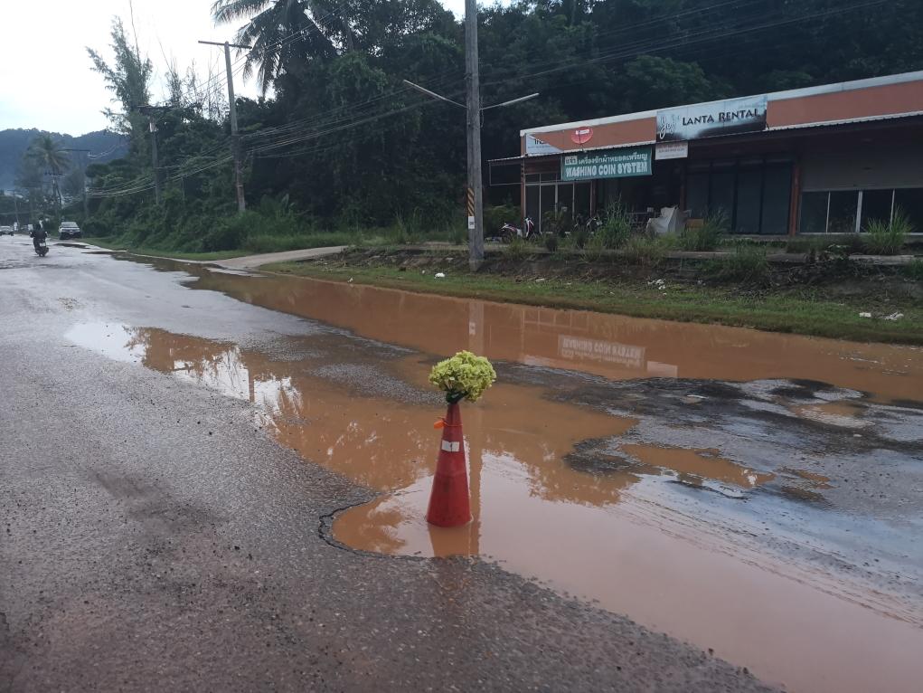 Les routes sur Koh Lanta après l'orage