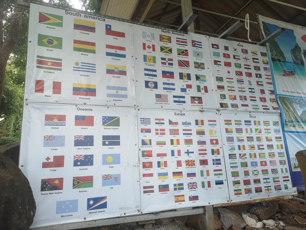 Les drapeaux des nations des victimes du Tsunami de 2004