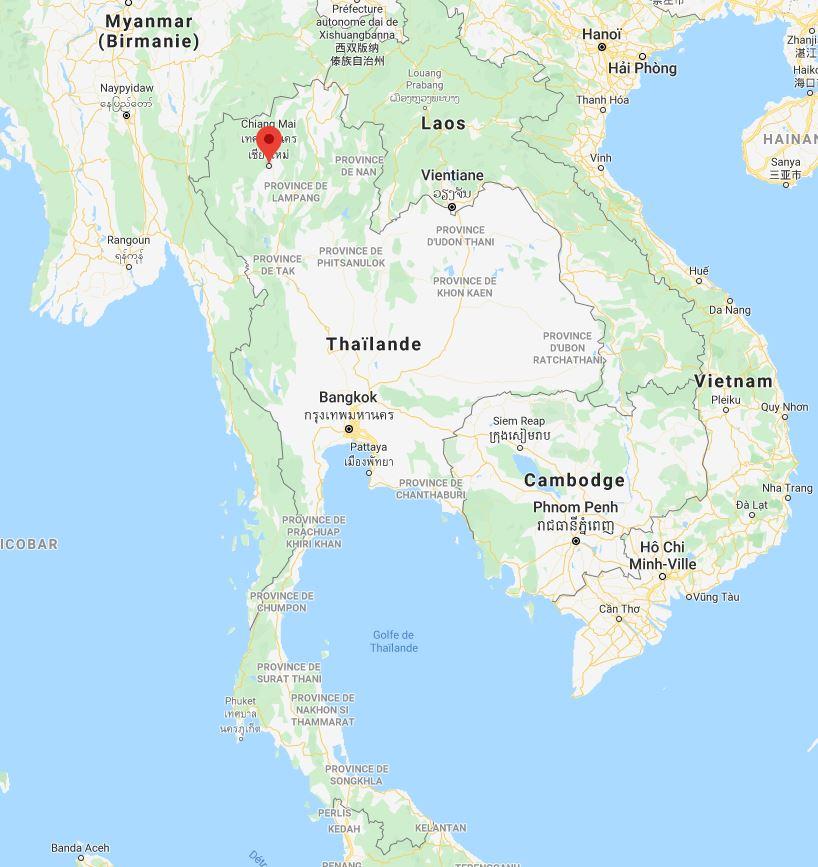Chiang Mai sur la carte de la Thaïlande