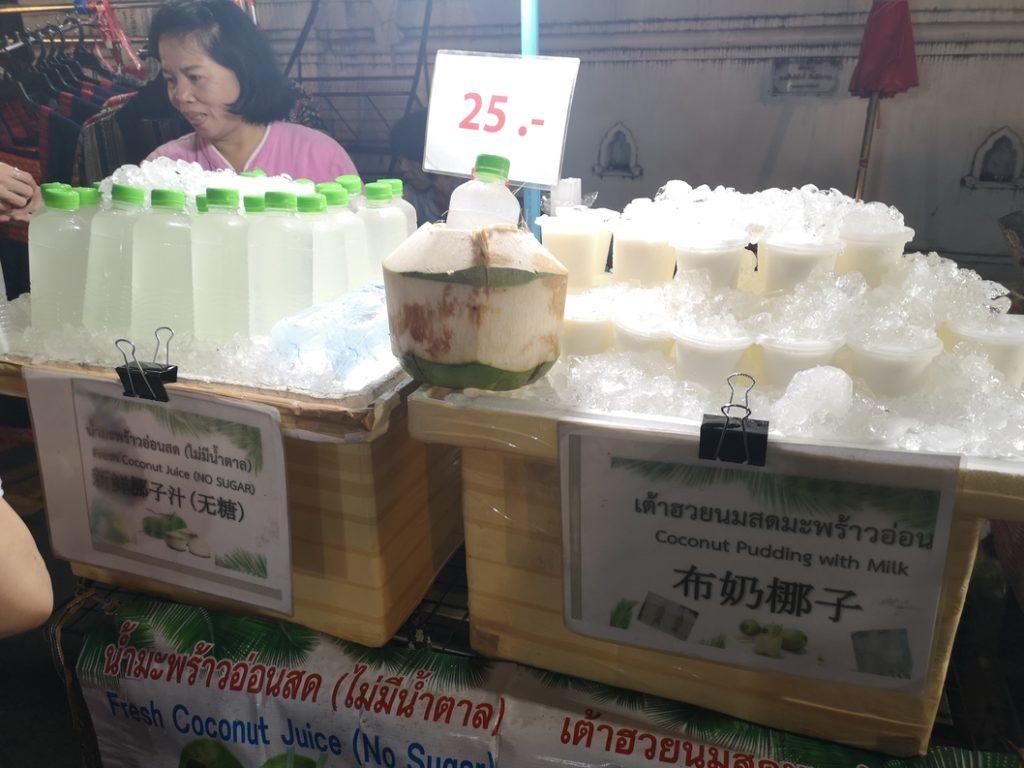 Jus de coco frais ou pudding au lait de coco