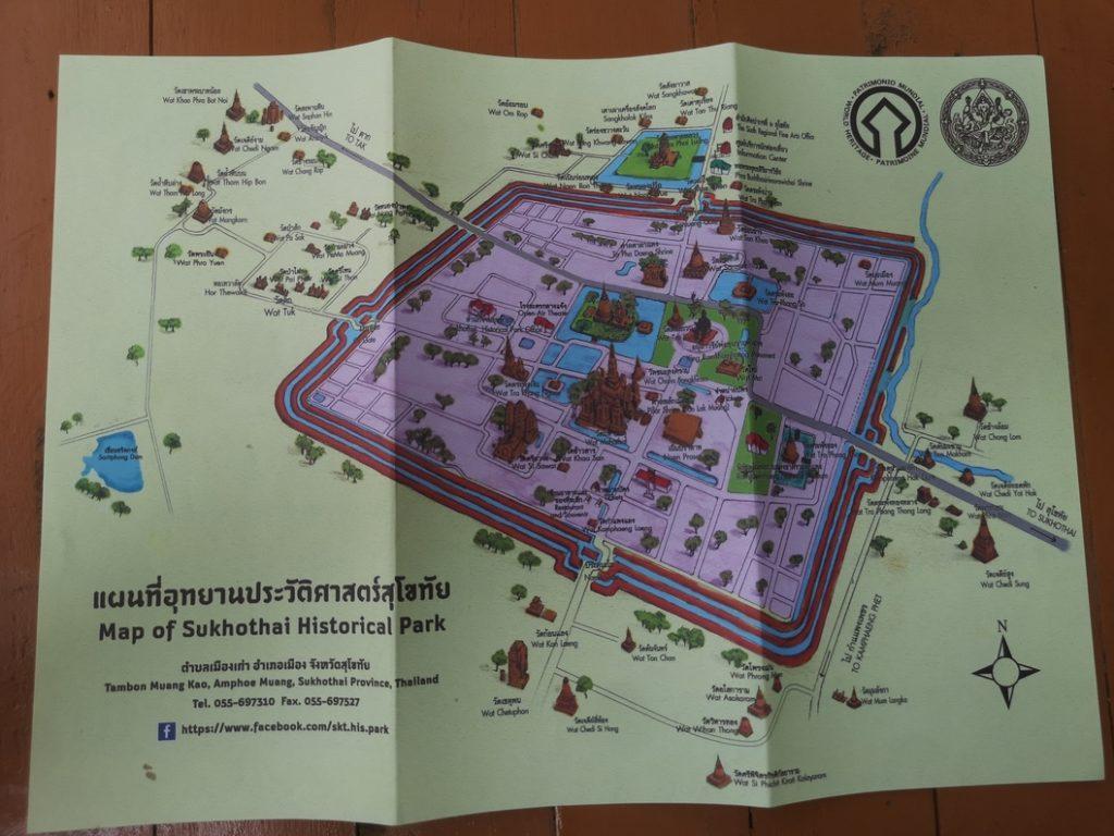 La carte du parc historique de Sukhothai