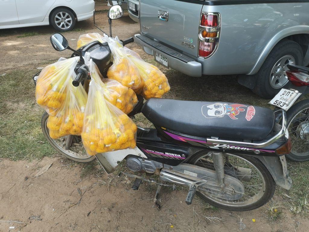 Moto permettant de transporter les fleurs pour la préparation de l'événement