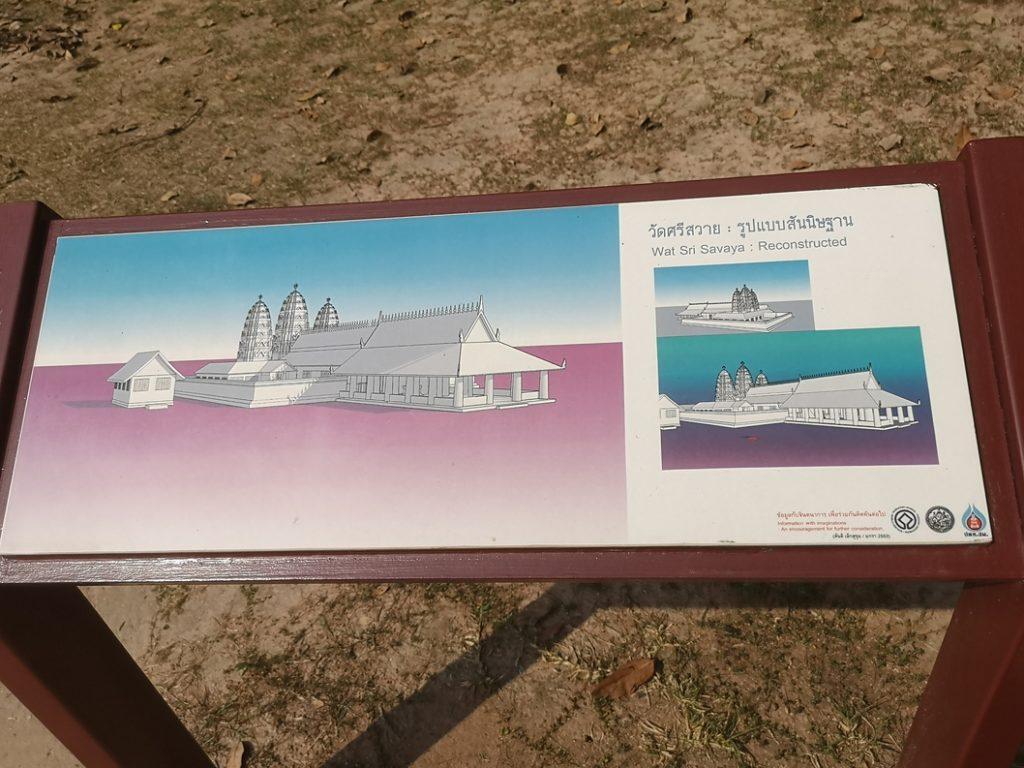 Schéma montrant la forme originelle du Wat Sri Sawai