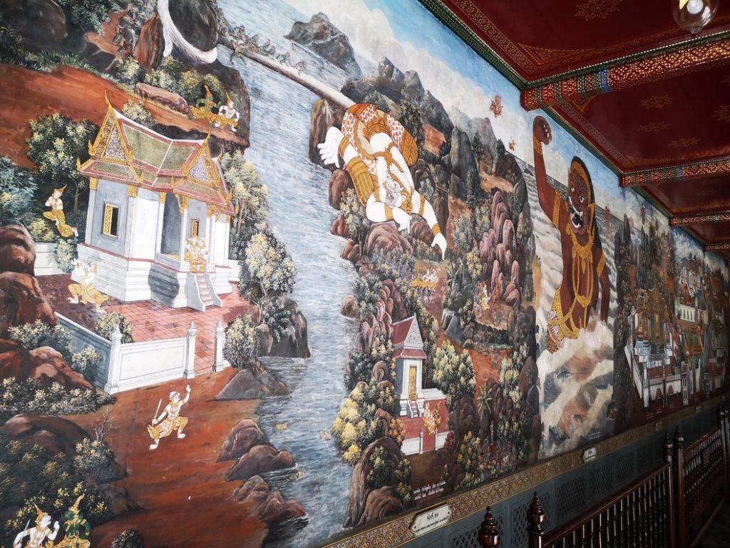 Peintures murales racontant le Ramakien, épopée nationale Thaïlandaise
