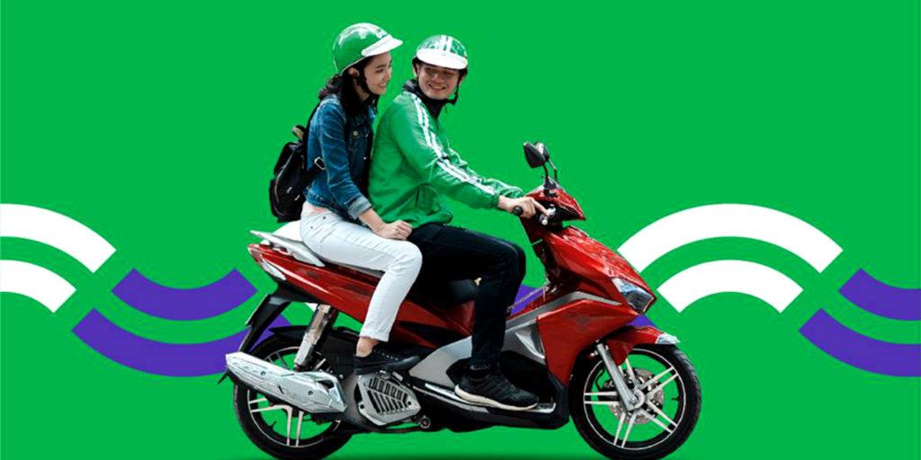 Grab à scooter, présent dans les grandes villes asiatiques