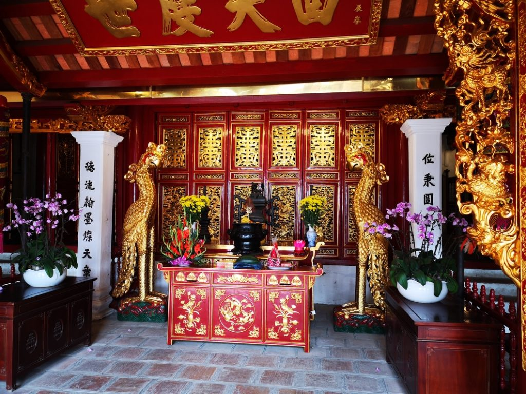 L'intérieur du bâtiment principal du temple