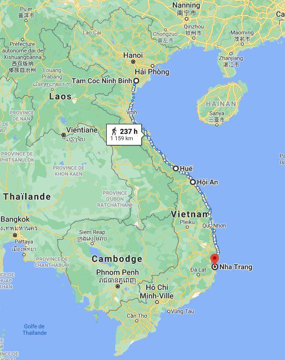 Carte de notre trajet lors de cette 2e étape au Vietnam