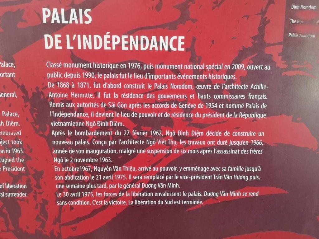 Explications sur le palais de la Réunification