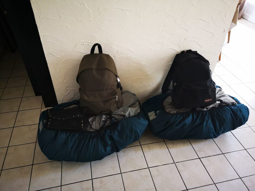 Nos sacs de nouveau prêts pour le départ