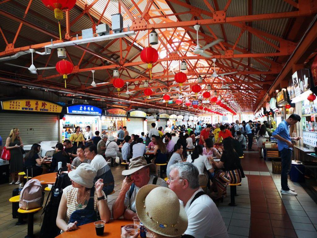 Une Food Court pleine de hawkers