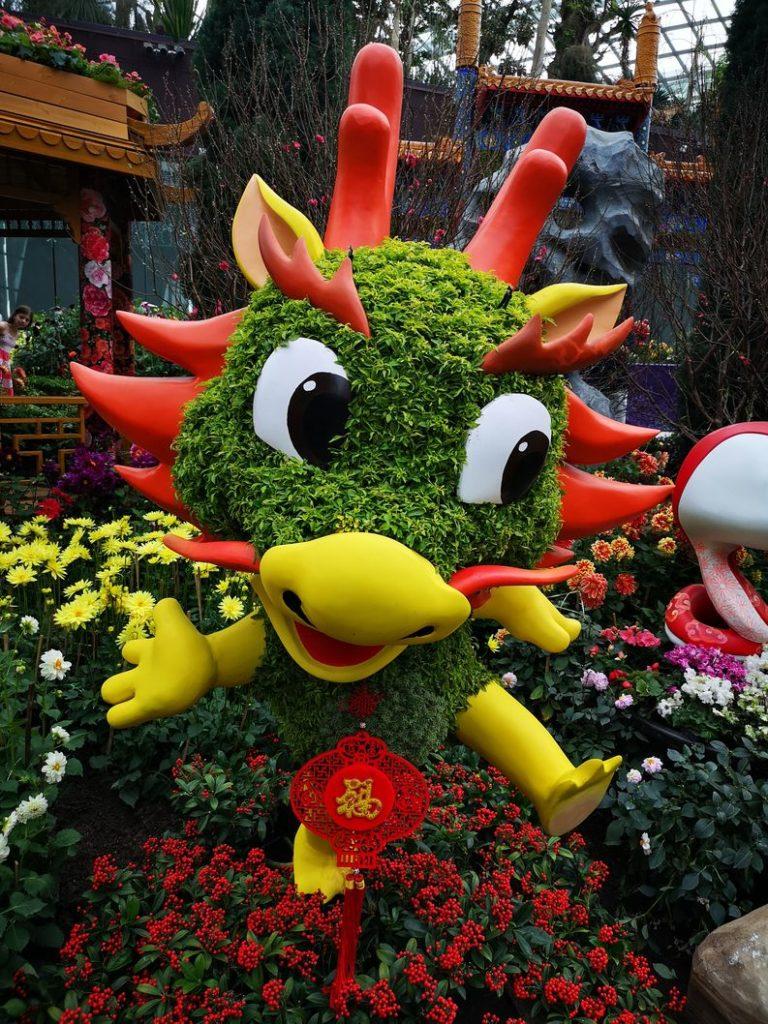 Décors pour le nouvel an chinois dans le Flower Dome